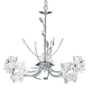 Bellis Chrome Five Light Fitting With Clear Flower Glass