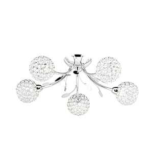 Image of Bellis II 5 Lamp Chrome Ceiling Light With Glass Buttons
