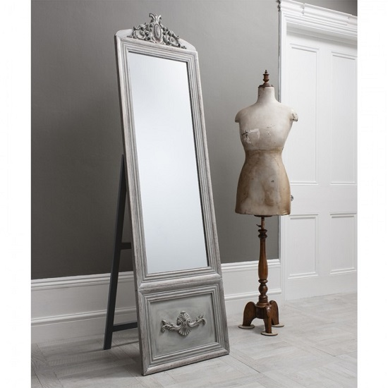 Gracie Cheval Floor Standing Mirror In Silver And Detailed Panel