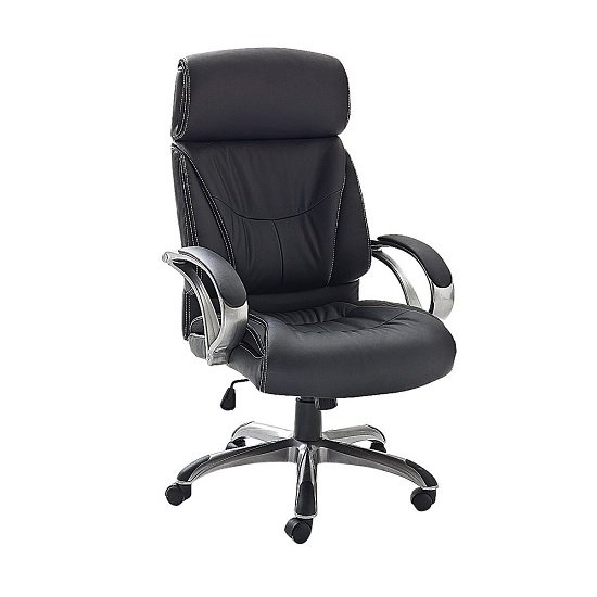 Dover Home Office Chair In Black PU Leather And Padded Armrests
