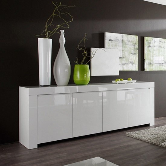 Benetti Sideboard Wide In White High Gloss With 4 Doors