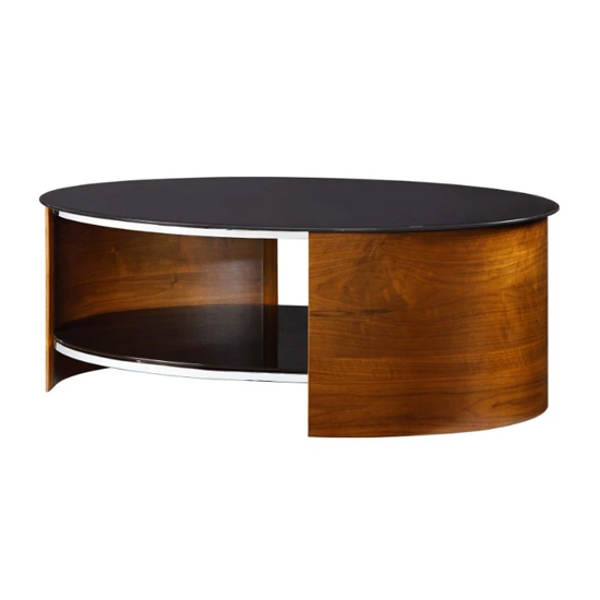 Bent Wood Coffee Table Oval In Black Glass With Walnut_2