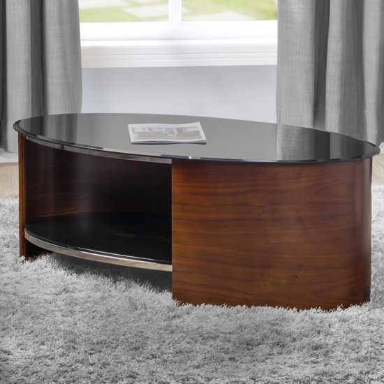 Bent Wood Coffee Table Oval In Black Glass With Walnut_1