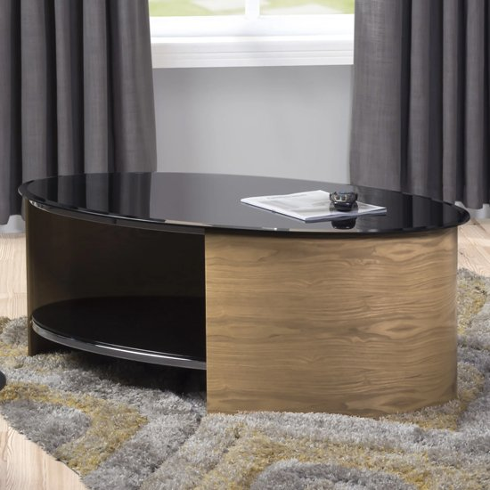 View Bentwood coffee table oval shape in black glass with oak