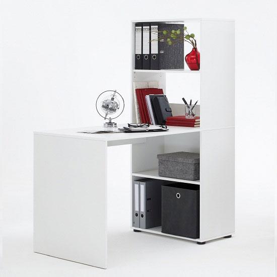 bente white home office desk with shelving 358 001 ebay. Black Bedroom Furniture Sets. Home Design Ideas
