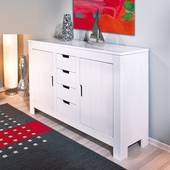 Bertram Wooden Sideboard In White With 2 Doors And 4 Drawers