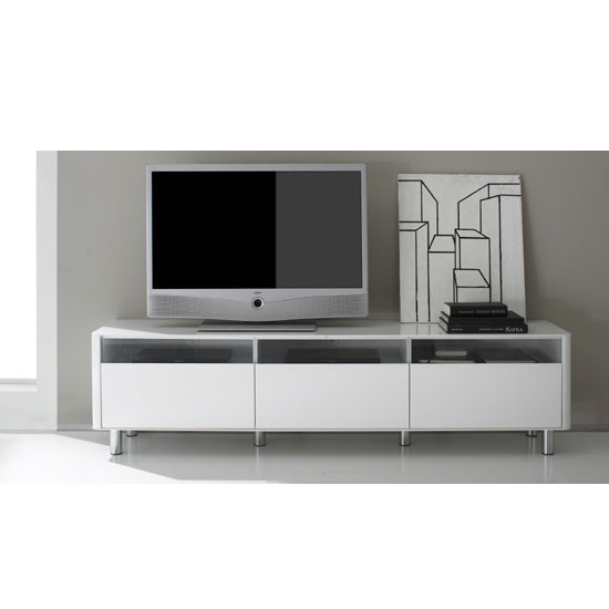 Berwick Large White High Gloss Finish Lowboard Plasma TV Stand
