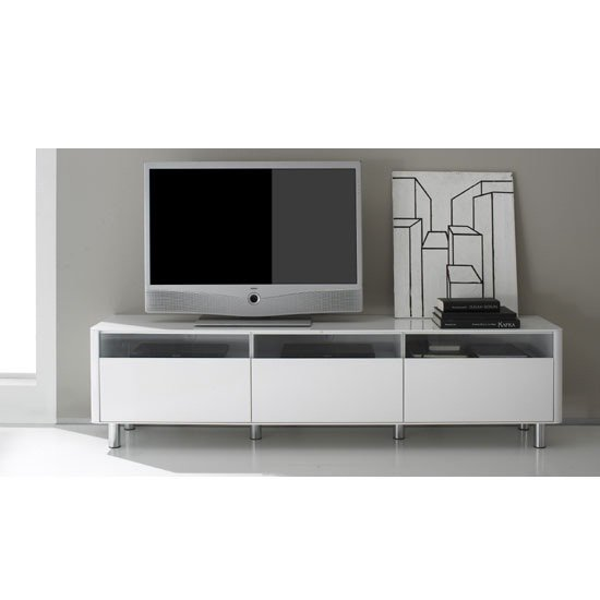Berwick Large White High Gloss Finish Lowboard Plasma TV Stand