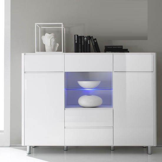 Berwick White High Gloss 2 Door Display Sideboard With LED Light