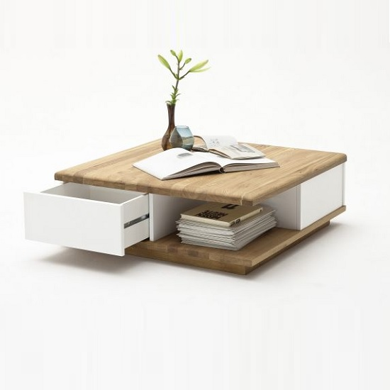 Clone coffee table square in knotty oak and white with 2 - Small center table designs ...