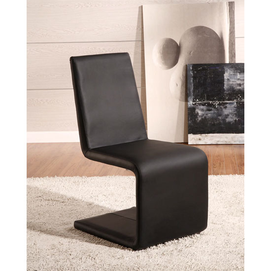 France Black Faux Leather Dining Chair