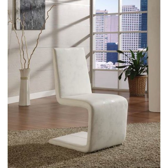 France White Faux Leather Dining Chair