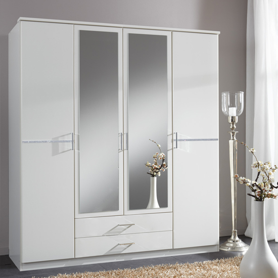 Florence Mirrored Wardrobe In White With Diamante And 4