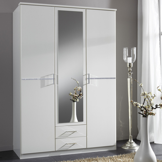 cheap white wardrobe with drawers and mirror