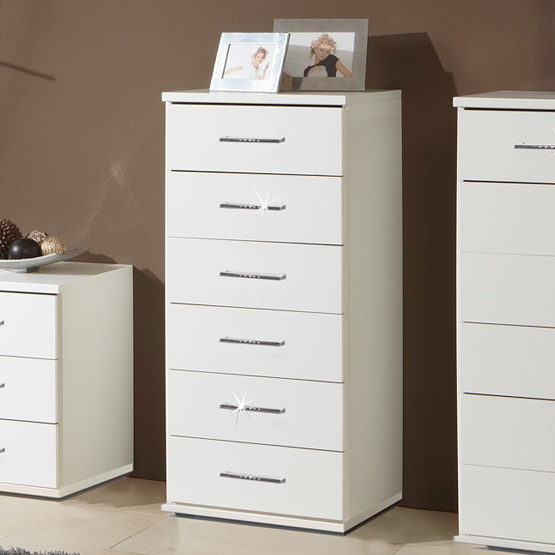 Florence 6 Drawer Tallboy Chest In White With Diamante