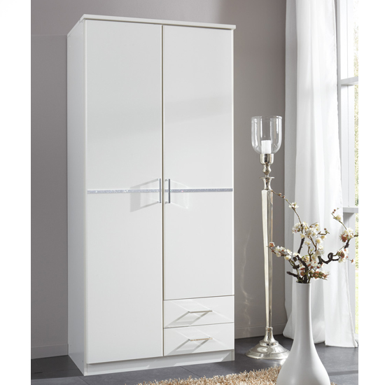 Florence white wooden wardrobe with diamante door