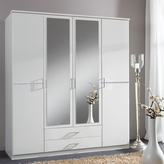 Florence Mirrored Wardrobe In White With Diamant And 4