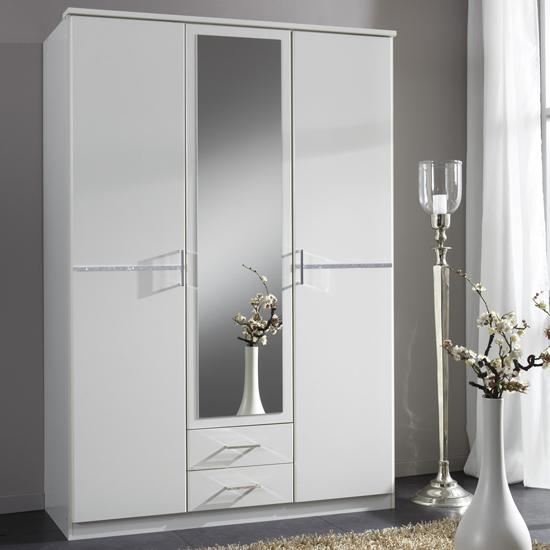 Florence White Wardrobe With Diamante 3 Door 2 Drawer 1 Mirror