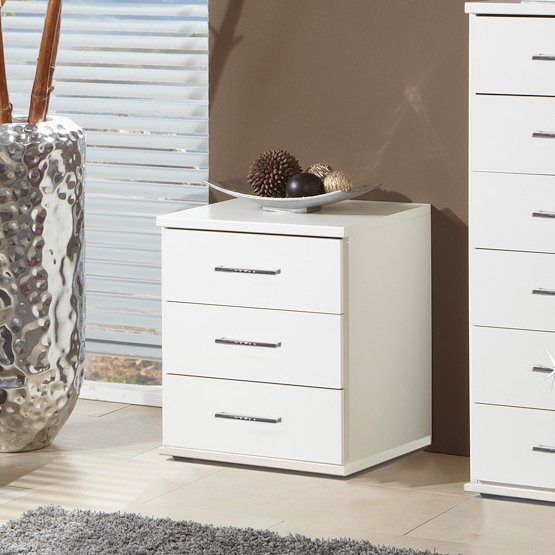 Florence 3 Drawer Bedside Cabinet In White With Diamante
