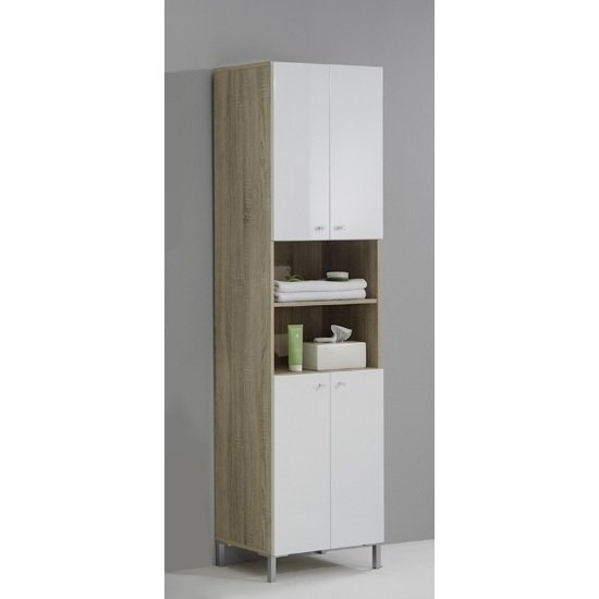 Bilbao6 freestanding wide bathroom cupboard 14753 furniture for Bathroom cabinets 25cm wide