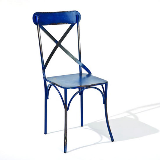 Bistro Metal Dining Chair In Blue