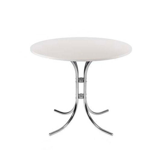 Staples Wooden Bistro Table Round In White With Chrome Frame