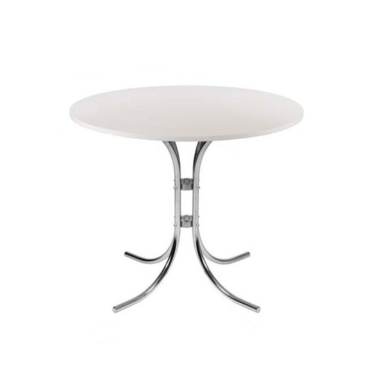 Staples Wooden Bistro Table Round In White With Chrome