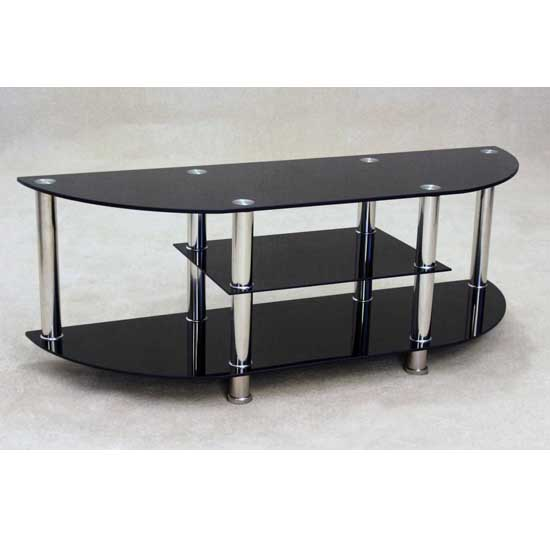 Bizet Black Glass TV Stand