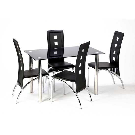 Bizet Glass Dining Table With 4 Black Bellini Chairs