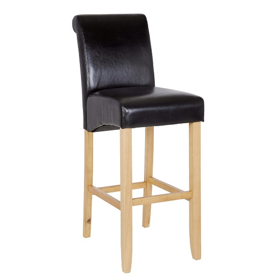 Monte Carlo High Bar Chair In Black Faux Leather With Oak Legs