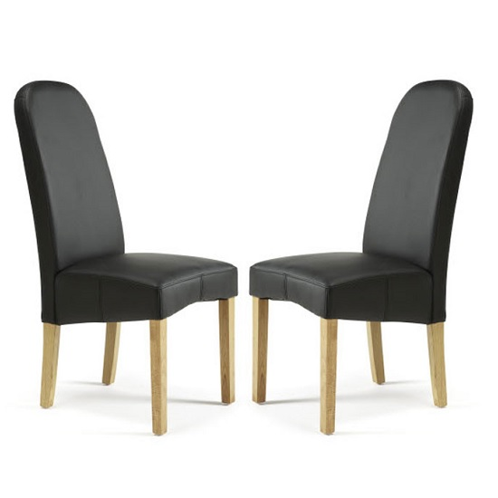 Jennifer Dining Chair In Black Faux Leather in A Pair