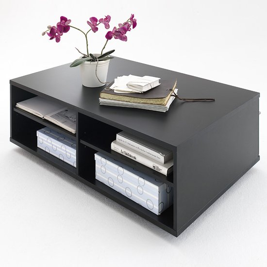 Black Gloss Coffee Table With Storage: Black Collection Coffee Table In High Gloss With Shelves