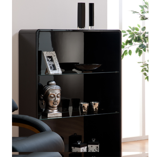Toscana Bookcase In Black High Gloss With 3 Compartments