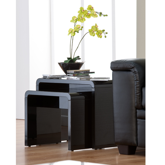 Toscana Nest of Tables In Black High Gloss