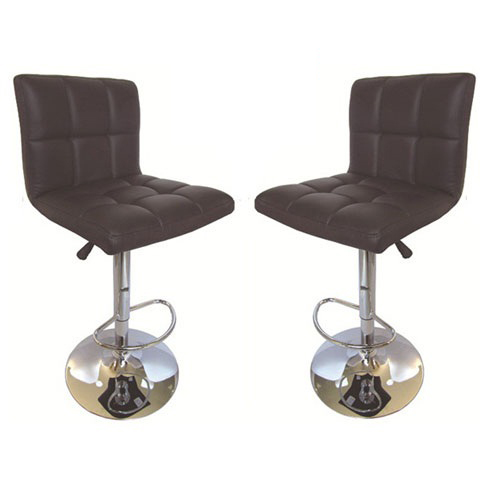 Blenheim Bar Stools In Brown Faux Leather in A Pair