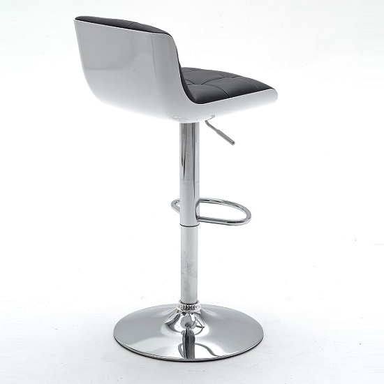 Bob Black Bar Stool In Faux Leather With Chrome Base_5
