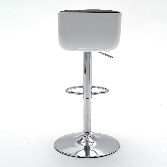 Bob Black Bar Stool In Faux Leather With Chrome Base_4