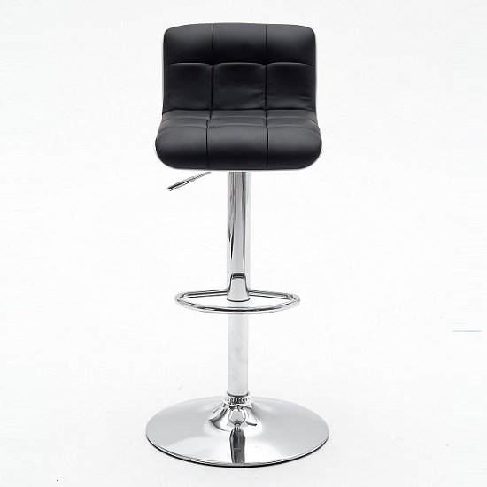 Bob Black Bar Stool In Faux Leather With Chrome Base_3