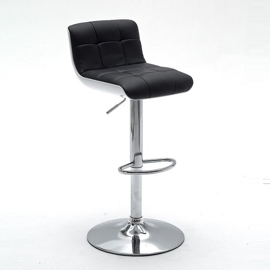 Bob Black Bar Stool In Faux Leather With Chrome Base_2