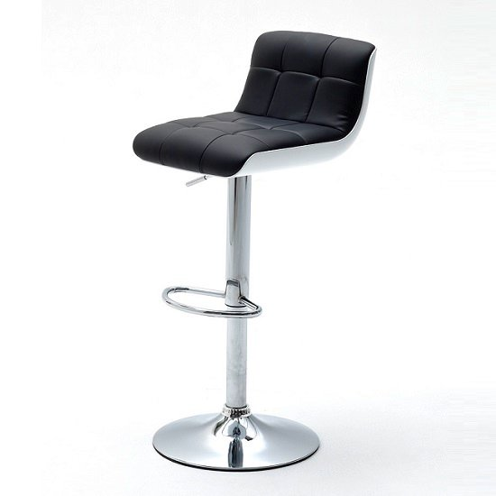 Bob Black Bar Stool In Faux Leather With Chrome Base_1