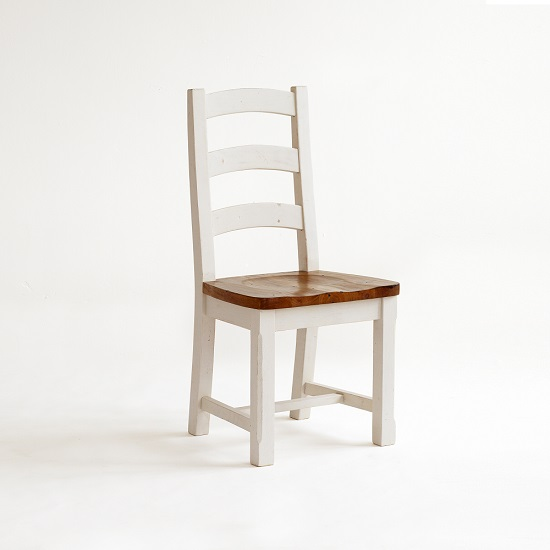 Boddem Dining Chair In White Pine Wood Cottage Style