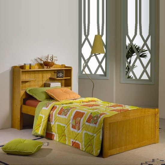 Bookcase Stylish Wooden Single Bed In Honey Pine