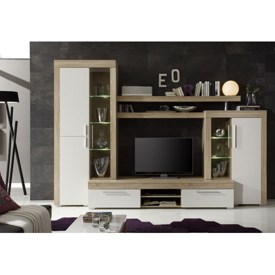 Boom Living Room Furniture Set In Oak With White 23740