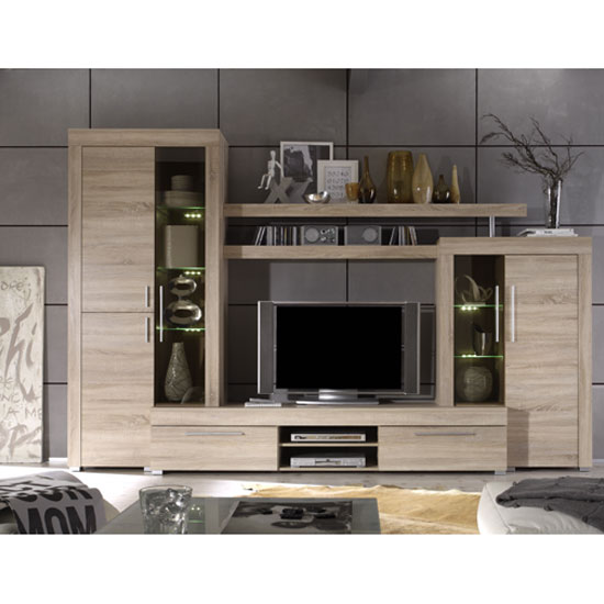 Boom Living Room Set In Oak With Led Lights 23745 Furniture
