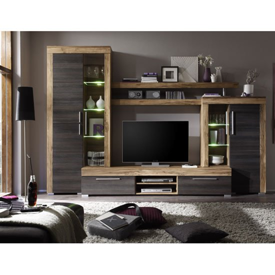 Read more about Boom living room furniture set in walnut and dark brown