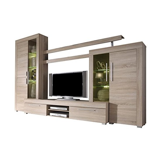 Boom Living Room Set In Oak With LED Lights_2