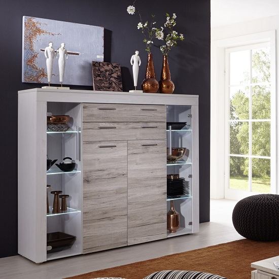 Read more about Baltic highboard in white with oak fronts and led lighting