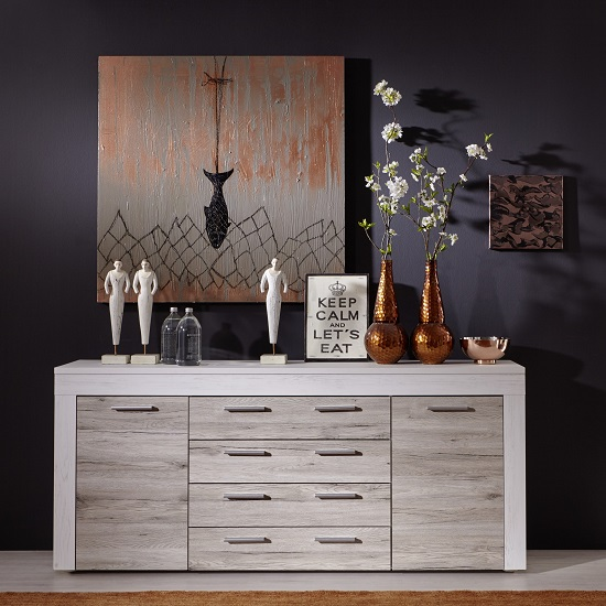 Baltic Sideboard In White With Oak Fronts With 2 Doors_1