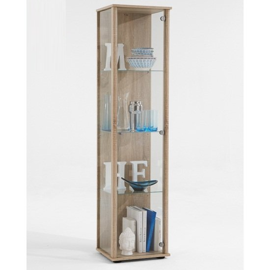 marine modern glass display cabinet in oak with glass shelves