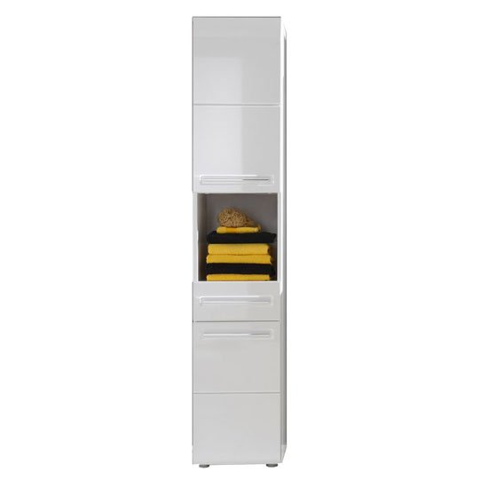 Bora tall bathroom cabinet in white with high gloss fronts - Colone salle de bain ...